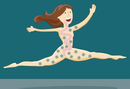 איור שלאישה קופצת ורואים את מערכת העיכול חייקדי מעיים, המקרוביות שבמעיים שיש להם השפעה מכרעת על בריאות וחולי