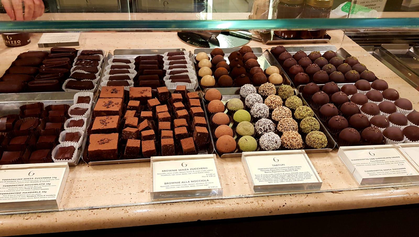 הפרלינים ב-Grezzo chocolate bar. צילום: אפרת נבון כהן