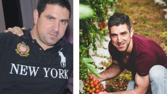 גיל סלוקי, לפני ואחרי השינוי התזונתי. צילום האחרי (מימין): טלי נחשון דג